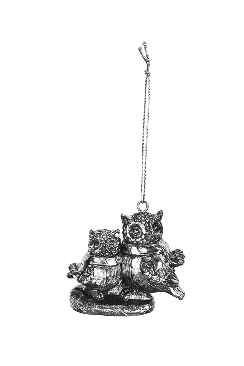 Украшение декоративное Совушки с шарфикамиПодарки<br>7*5см, полирезин, серебр., подвесное<br>