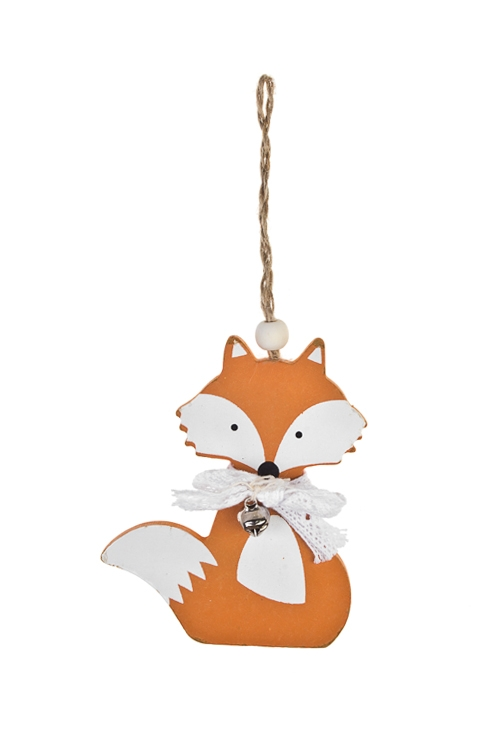 Украшение декоративное ЛисичкаЕлочные игрушки<br>Выс=10см, дерево, бело-оранж., подвесное<br>