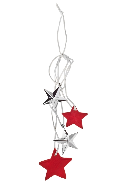 Украшение декоративное ЗвездочкиЕлочные игрушки<br>Дл=32см, дерево, пластм., подвесное<br>