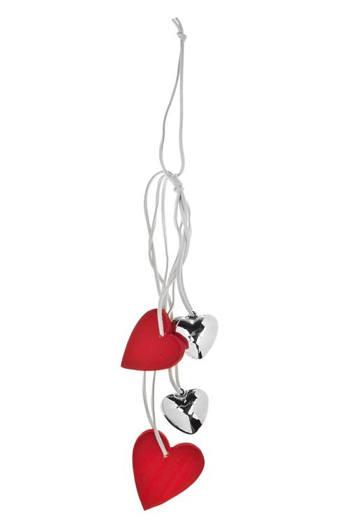 Украшение декоративное СердцаЕлочные игрушки<br>Дл=32см, дерево, пластм., подвесное<br>