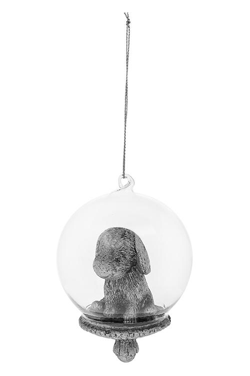 Украшение для интерьера Песик - счастливый носикСувениры и упаковка<br>8*10см, полирезин, стекло, серебр., подвесное<br>