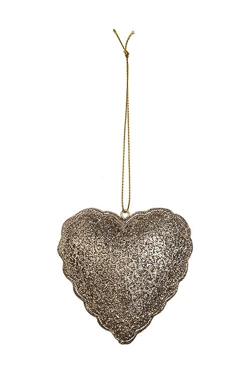 Украшение декоративное СердцеСувениры и упаковка<br>Выс=8см, полирезин, золот., подвесное<br>