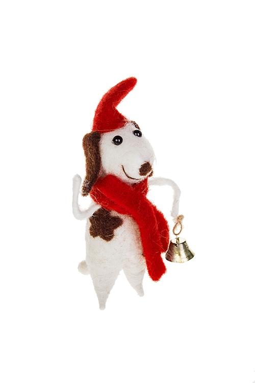 Украшение декоративное Песик с колокольчикомПодарки на Новый год 2018<br>7*5*14см, пенопласт, текстиль, бело-красное, ручн. работа<br>