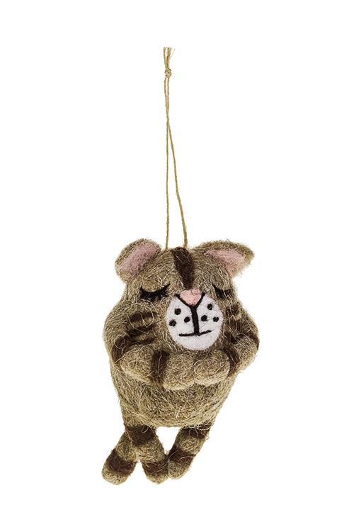 Украшение декоративное Полосатый котикСувениры и упаковка<br>8*8*15см, пенопласт, текстиль, коричн., подвесное, ручн.раб.<br>