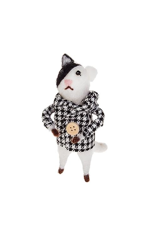 Украшение декоративное Стильный котикИгрушки и куклы<br>6*7*11см, пенопласт, текстиль, бело-черное, ручн. работа<br>