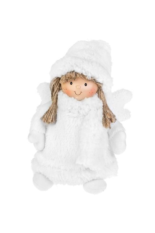 Кукла декоративная Ангелочек в шубкеИгрушки и куклы<br>Выс=24см, полирезин, текстиль, белая<br>