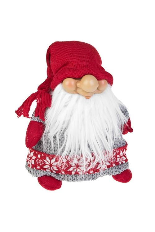 Кукла декоративная ГномикТекстильные игрушки<br>Выс=21см, полирезин, текстиль, бело-серо-красная (2 вида)<br>