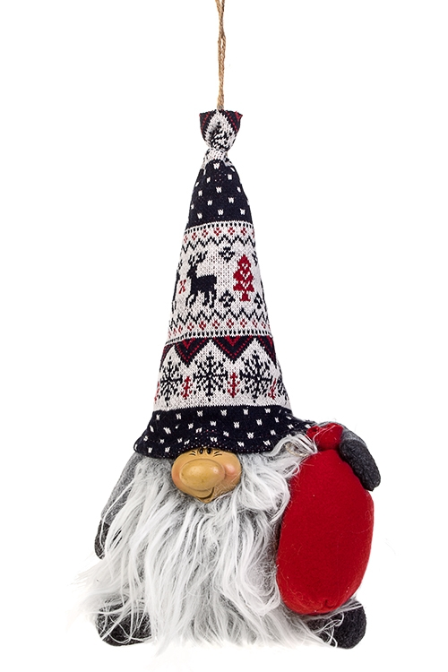 Кукла декоративная Гномик с мешочкомТекстильные игрушки<br>Выс=25см, текстиль, полирезин, красно-сине-серая, подвесная<br>