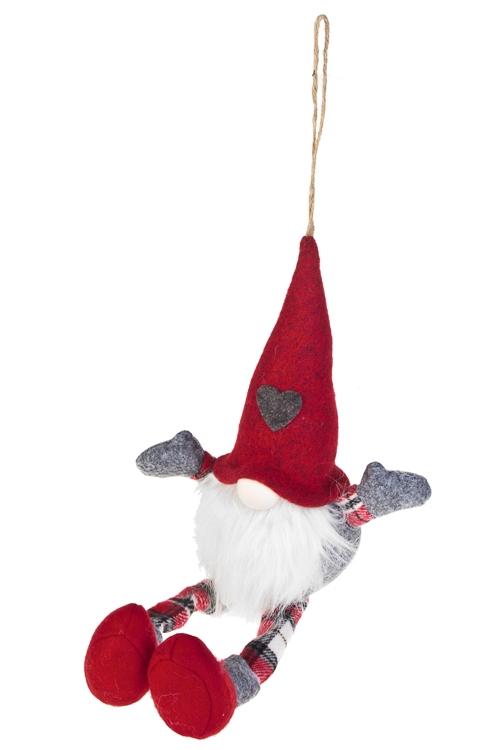 Игрушка мягкая ГномикТекстильные игрушки<br>Выс=41см, текстиль, серо-красная, подвесная (2 вида)<br>