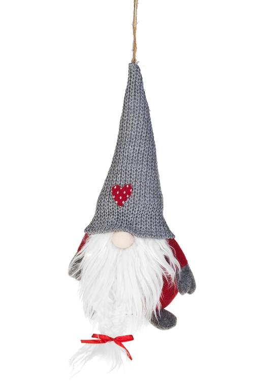 Игрушка мягкая Забавный гномикИгрушки и куклы<br>Выс=40см, текстиль, красно-серая, подвесная (2 вида)<br>