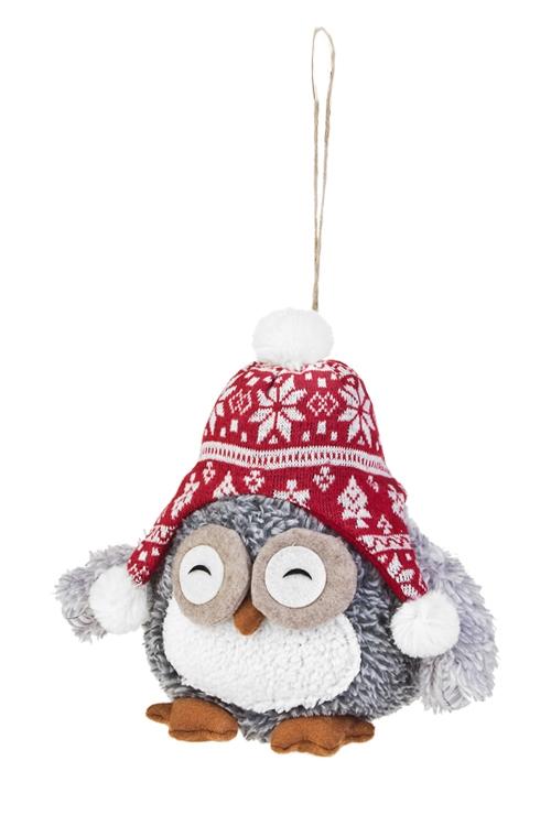 Игрушка мягкая Совушка в шапочкеНовогодние сувениры<br>Выс=20см, текстиль, красно-серая, подвесная (2 вида)<br>
