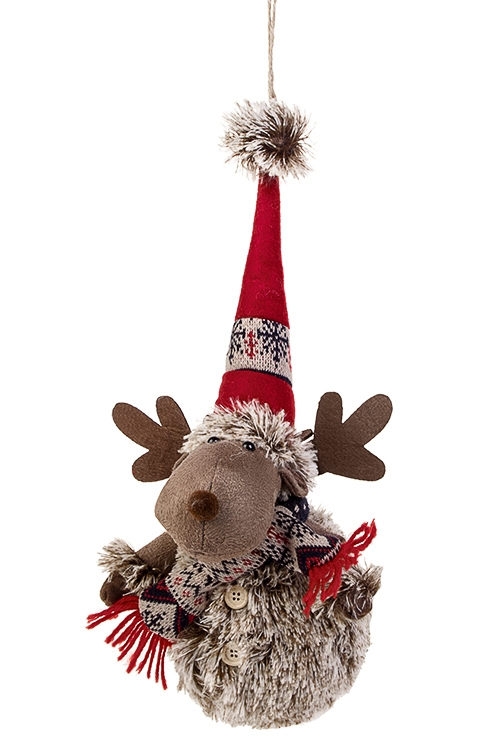 Игрушка мягкая Веселый оленьИгрушки и куклы<br>Выс=18см, текстиль, коричн.-красная, подвесная<br>