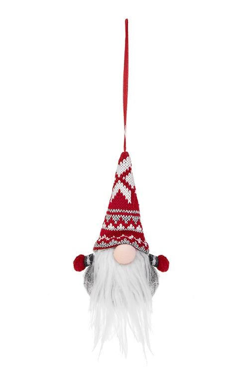 Кукла мягконабивная Гномик в норвежском колпакеПлюшевые игрушки<br>Выс=14см, текстиль, бело-красно-серая<br>