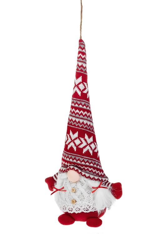 Кукла мягконабивная Гном в шапкеИгрушки и куклы<br>Выс=41см, текстиль, бело-серо-красная, подвесная<br>