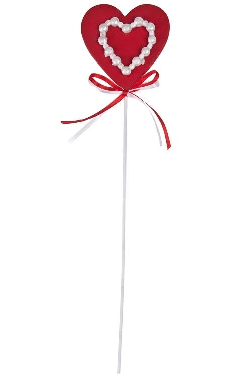 Украшение декоративное Сердце с бусинкамиСувениры и упаковка<br>Выс=29см, дерево, бамбук, красное, на палке<br>