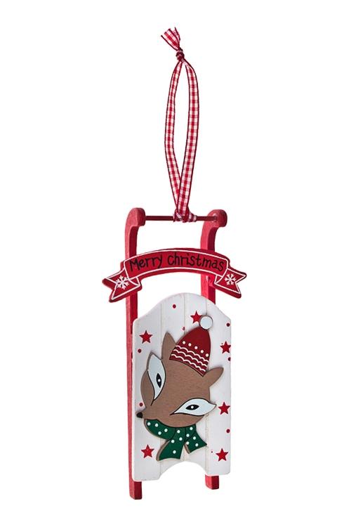 Украшение декоративное Санки с лисенкомЕлочные игрушки<br>16*9см, дерево, подвесное<br>