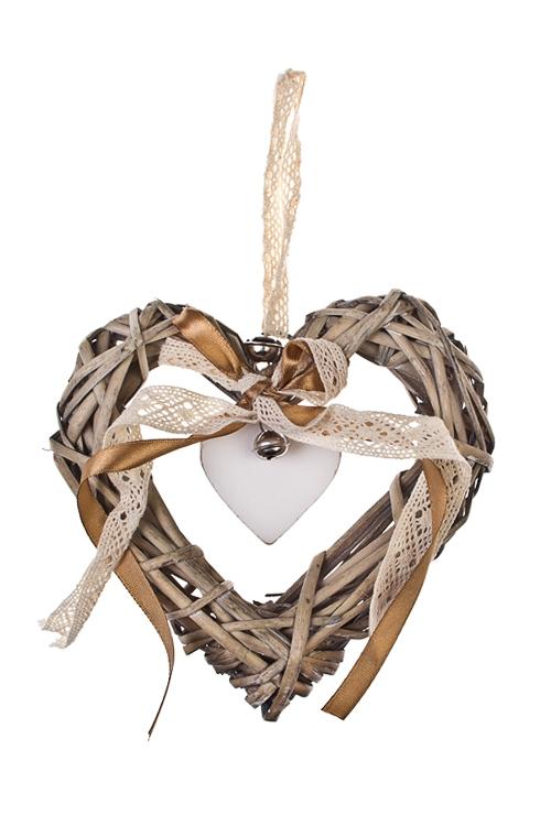 Украшение декоративное Сердце с бантикомЕлочные игрушки<br>Выс=15см, дерево, натур. матер., подвесное<br>