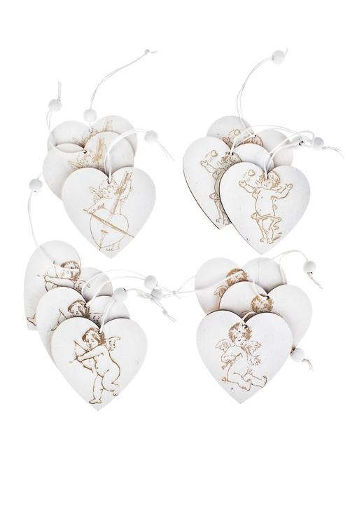 Набор украшений декоративных Сердца с ангеломРождественские украшения<br>Выс=15см, дерево, подвесной<br>
