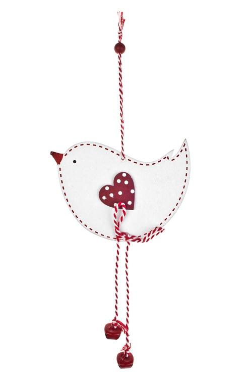 Украшение декоративное Влюбленная птичкаДекоративные гирлянды и подвески<br>Выс=26см, дерево, бело-красное, подвесное<br>