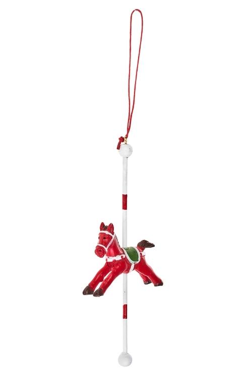Украшение декоративное ЛошадкаДекоративные гирлянды и подвески<br>Выс=23см, полирезин, красно-белое, подвесное<br>