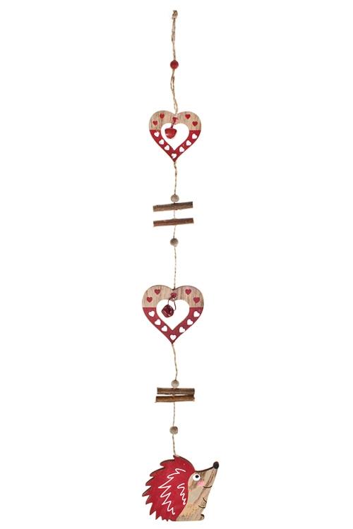 Украшение декоративное Ежик с сердцамиДекоративные гирлянды и подвески<br>Дл=60см, дерево, беж.-красн., подвесное<br>