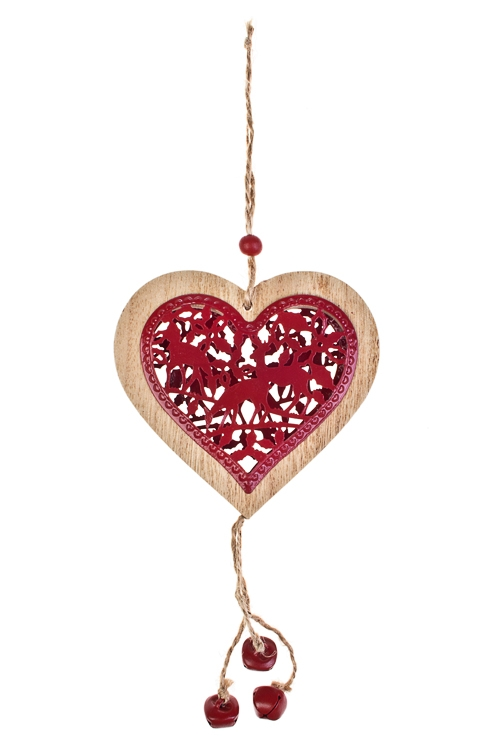 Украшение декоративное Резное сердце с бубенцамиСувениры и упаковка<br>Выс=32см, дерево, красное, подвесное<br>