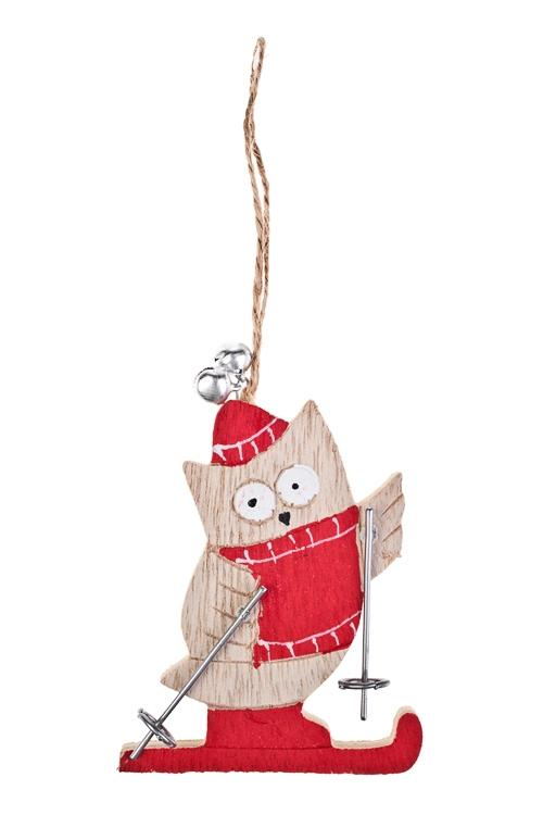 Украшение декоративное Совушка на лыжахРождественские украшения<br>Выс=11см, дерево, беж.-красное, подвесное<br>