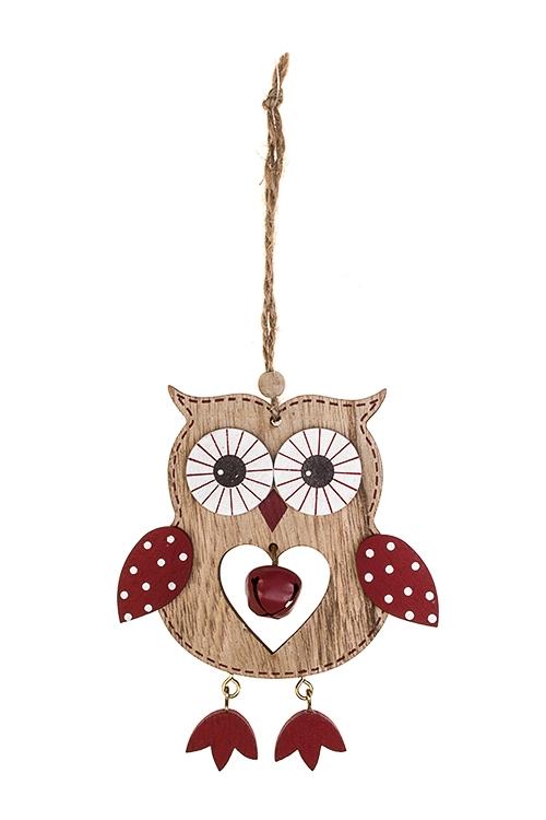 Украшение декоративное Влюбленная совушкаДекоративные гирлянды и подвески<br>11*12см, дерево, крем.-красное, подвесное<br>