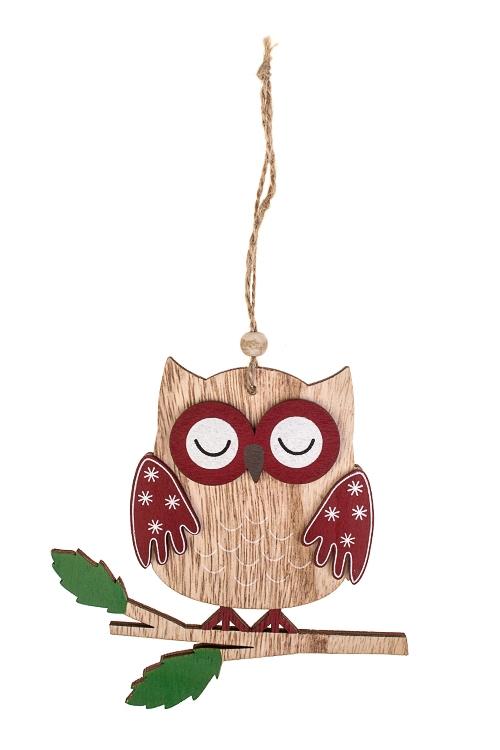 Украшение декоративное Спящая совушкаДекоративные гирлянды и подвески<br>13*13см, дерево, крем.-красное, подвесное<br>