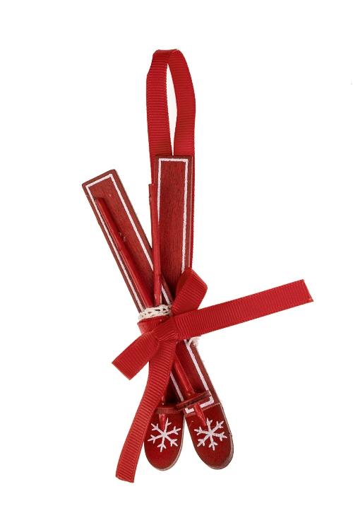Украшение декоративное ЛыжиДекоративные гирлянды и подвески<br>5*13см, дерево, красное, подвесное<br>