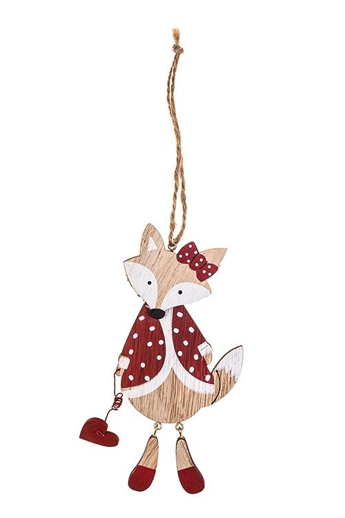Украшение декоративное Влюбленная лисичкаДекоративные гирлянды и подвески<br>8*15см, дерево, крем.-красное, подвесное<br>