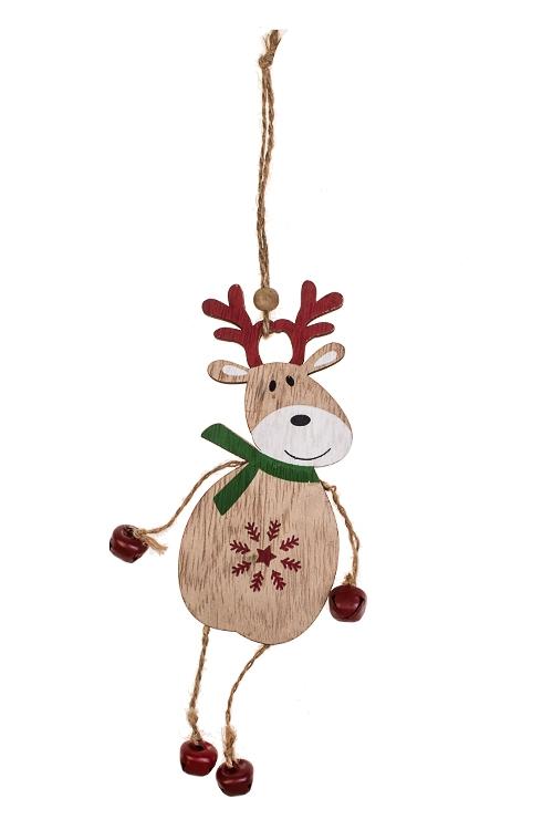 Украшение декоративное Милый оленьДекоративные гирлянды и подвески<br>6*20см, дерево, металл, крем.-красное, подвесное<br>