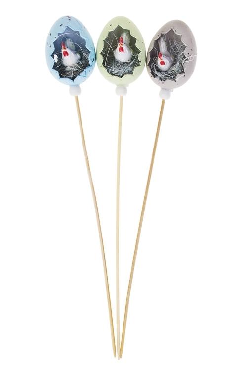 Украшение декоративное ЯичкоСувениры и упаковка<br>Выс=6см, пластм., на палке<br>