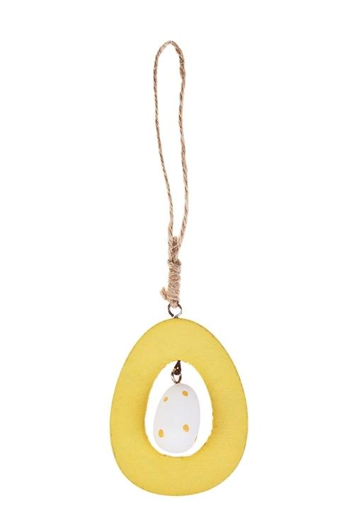 Украшение декоративное Волшебное яичкоПодарки на Пасху<br>6*8см, МДФ, подвесное (2 цвета)<br>