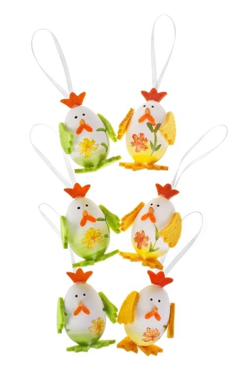 Украшение декоративное Цыпленок в цветахЯйца пасхальные<br>Выс=6см, фетр, пласт., подвесное (2 вида)<br>