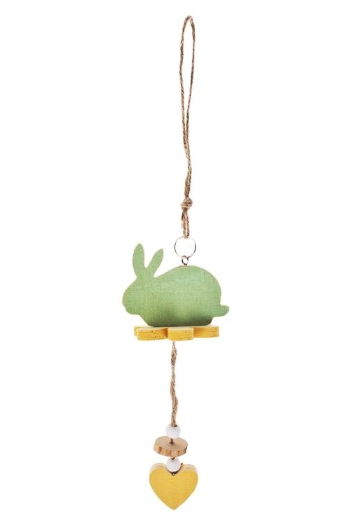 Украшение декоративное Зайка на цветочкеДекоративные гирлянды и подвески<br>30*6см, МДФ, подвесное<br>