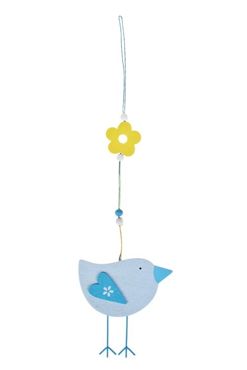 Украшение декоративное ПтичкаСувениры и упаковка<br>Д=30см, МДФ, голубое, подвесное<br>