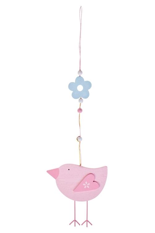 Украшение декоративное ПтичкаСувениры и упаковка<br>Д=30см, МДФ, розовое, подвесное<br>