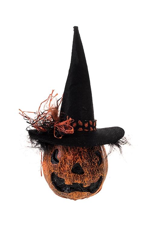 Украшение для интерьера Тыква ДжекПодарки на Хэллоуин<br>12*23см, пенопласт, текстиль, оранж.<br>