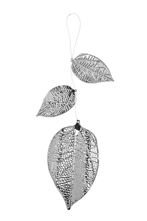 Украшение декоративное ЛисточкиЕлочные игрушки<br>Выс=25см, металл, серебр., подвесное<br>