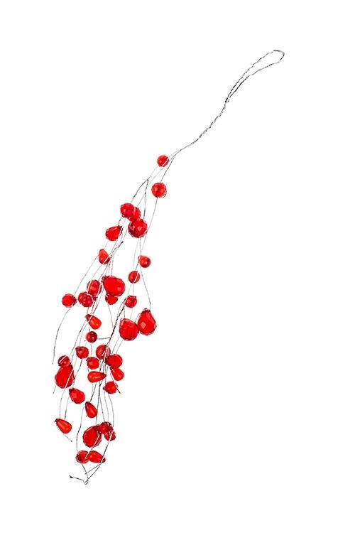 Украшение декоративное КапелькиСувениры и упаковка<br>Выс=31см, акрил, металл, красное, подвесное<br>