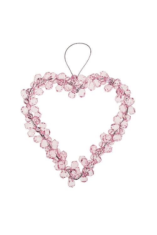 Украшение декоративное СердцеДекоративные гирлянды и подвески<br>Выс=12см, акрил, металл, розовое, подвесное<br>