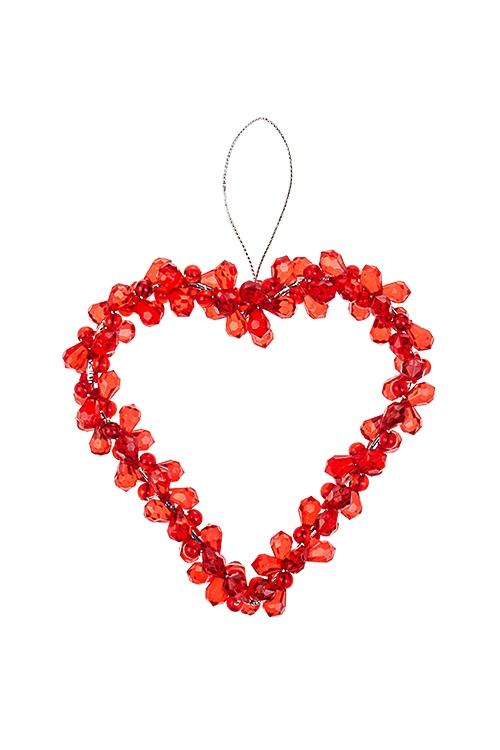 Украшение декоративное СердцеДекоративные гирлянды и подвески<br>Выс=12см, акрил, металл, красное, подвесное<br>