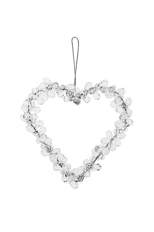 Украшение декоративное СердцеСувениры и упаковка<br>Выс=12см, акрил, металл, прозрачное, подвесное<br>