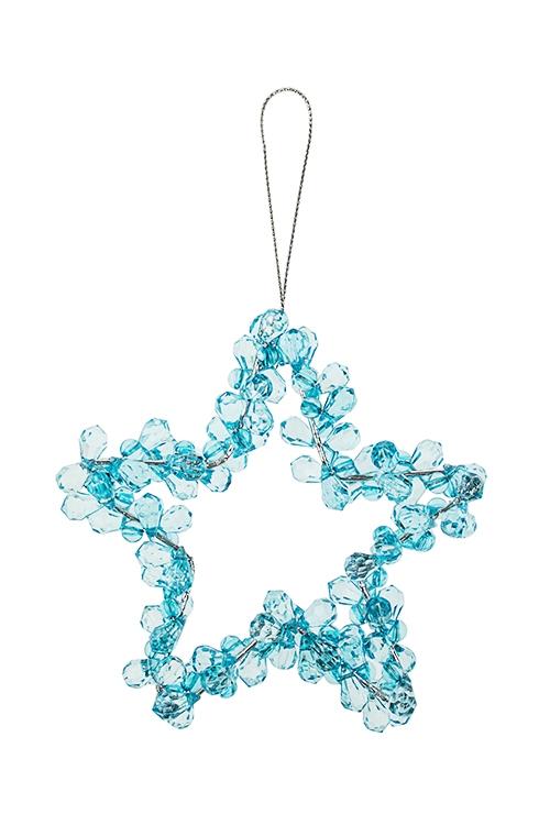 Украшение декоративное ЗвездаДекоративные гирлянды и подвески<br>Выс=12см, акрил, металл, голубое, подвесное<br>