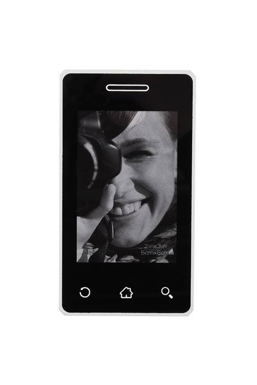 Держатель-магнит с фоторамкой Экран телефонаИнтерьер<br>7*12см, фото 5*7.5см, пласт., черный<br>