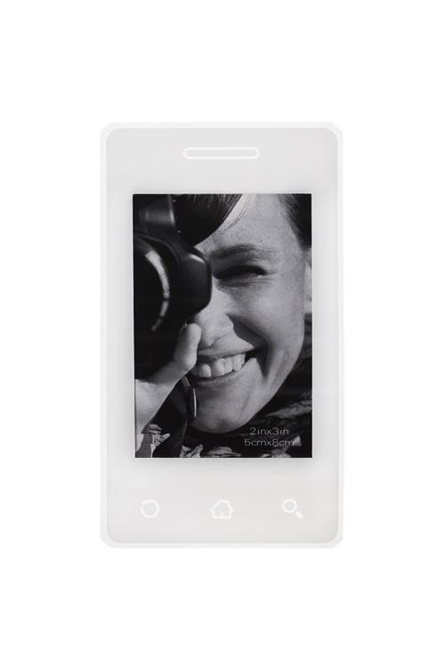 Держатель-магнит с фоторамкой Экран телефонаПодарки на день рождения<br>7*12см, фото 5*7.5см, пласт., белый<br>