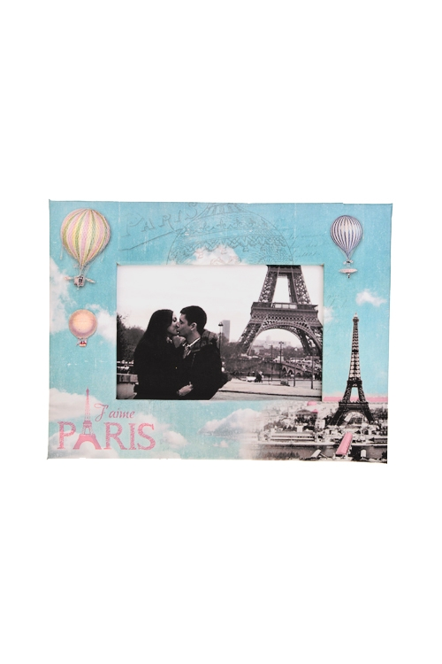 Рамка для фото ПарижИнтерьер<br>19*15см, фото 9*13см, бум., розово-голубая<br>