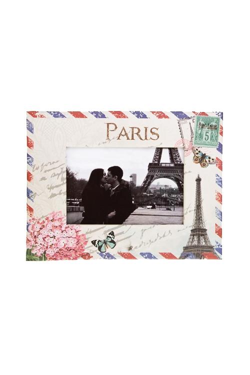 Рамка для фото Цветущий ПарижИнтерьер<br>19*15*см, фото 9*13см, бум., бело-крем.-розовая<br>