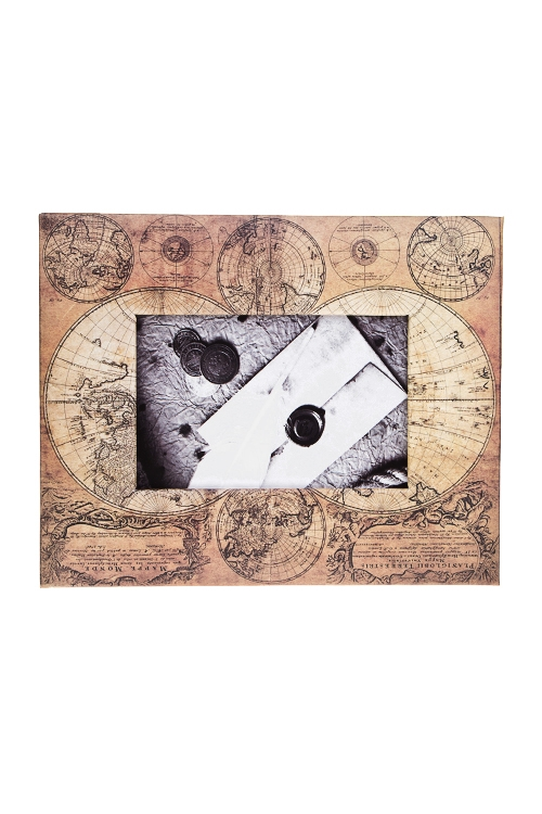 Рамка для фото КартаРамки для фотографий<br>23*19см, фото 10*15см, бум., крем.-коричн.<br>